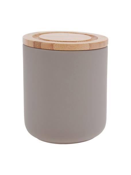 Opbergpot Stak, Pot: keramiek, Deksel: bamboehout, Steengrijs, bamboehoutkleurig, Ø 10 x H 13 cm