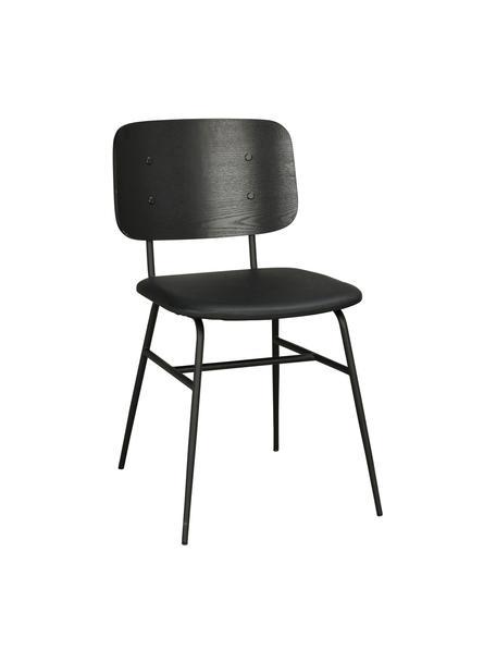 Holzstühl Brent, Rückenlehne: Eschenfurniersperrholz, l, Sitzfläche: Kunstleder (Polyurethan), Gestell: Metall, lackiert, Schwarz, matt, B 47 x T 57 cm