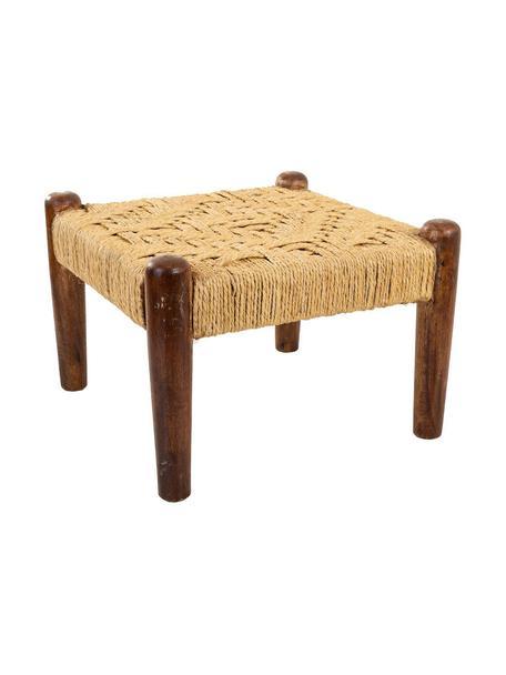 Taburete Alicia, Patas: madera de mango, Asiento: cuerda, Marrón, beige , An 39 x Al 27 cm
