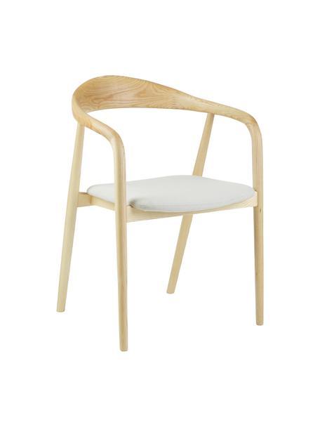 Krzesło tapicerowane z podłokietnikami z litego drewna Angelina, Tapicerka: 100% poliester Dzięki tka, Stelaż: lite drewno jesionowe, la, Beżowy, S 57 x G 57 cm