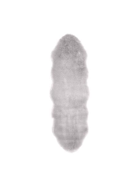 Alfombra de piel sintética Mathilde, lisa, Parte superior: 65% acrílico, 35% poliést, Parte trasera: 100%poliéster, Gris claro, An 60 x L 180 cm
