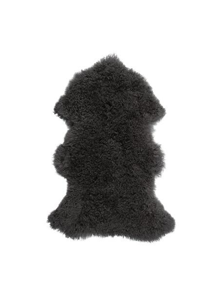 Piel de cordero Ella, Parte superior: piel de cordero de Mongol, Reverso: cuero, Gris, An 50 x L 80 cm