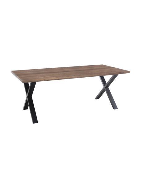 Eettafel Montpellier met massief houten blad, Tafelblad: massief geolied eikenhout, Frame: gepoedercoat staal, Gerookt eiken, zwart, B 200 x D 95 cm