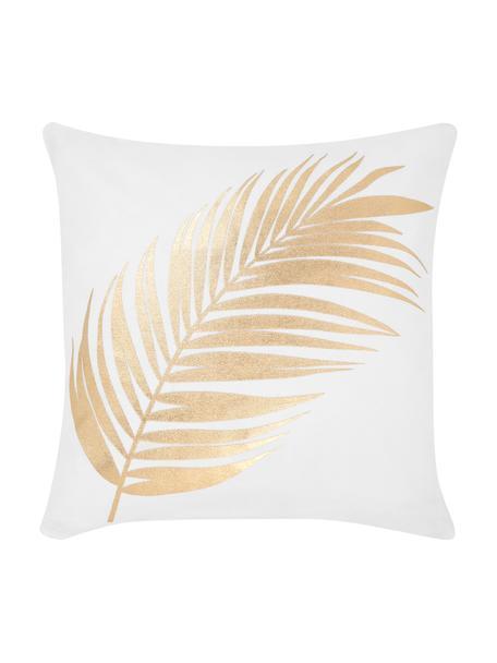 Witte kussenhoes licht met gouden opdruk, 100% katoen, Wit, goudkleurig, 40 x 40 cm