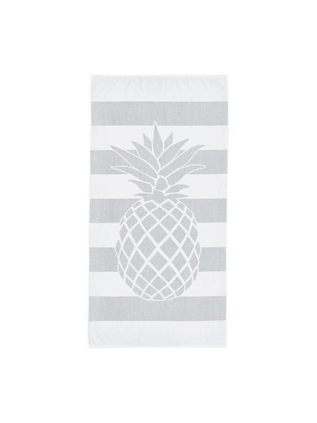 Gestreiftes Strandtuch Asan mit Ananas-Motiv, 100% Baumwolle leichte Qualität 380 g/m², Grau, Weiss, 80 x 160 cm