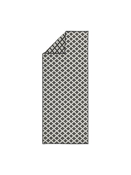 Alfombra reversible de interior/exterior Nizza, Negro, crema, An 80 x L 250 cm