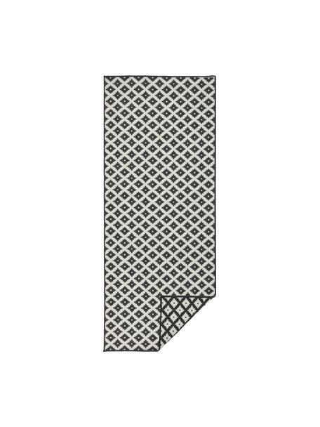 In- und Outdoor-Wendeläufer Nizza in Schwarz/Creme, Schwarz, Cremefarben, 80 x 250 cm