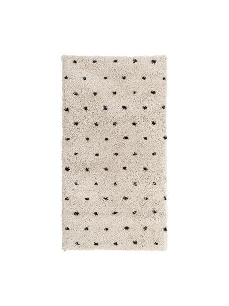 Flauschiger Hochflor-Teppich Ayana, gepunktet, Flor: 100% Polyester, Beige, Schwarz, B 80 x L 150 cm (Grösse XS)