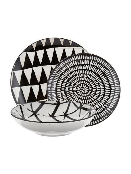 Serviesset met patroon Mokala in zwart/wit, 6 personen (18-delig), Porselein, Zwart, wit, Set met verschillende formaten