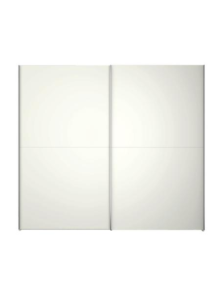 Witte kledingkast Oliver met schuifdeuren, Frame: panelen op houtbasis, gel, Wit, 202 x 225 cm