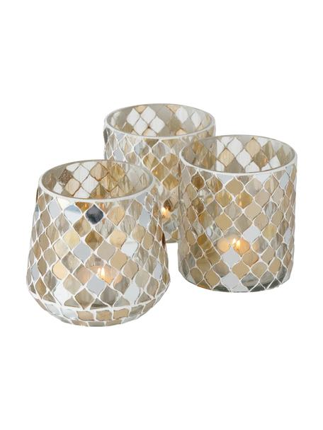 Teelichthalter-Set Horya, 3-tlg., Glas, Gips, Mehrfarbig, Ø 10 x H 11 cm
