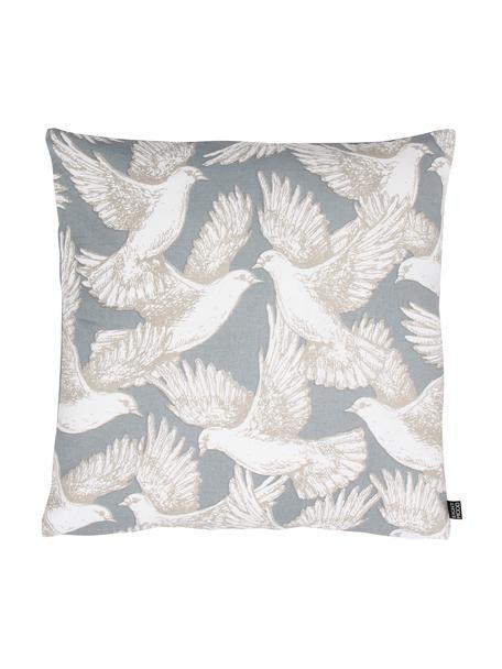 Kissenhülle Wings of Love mit Taubenmotiv, 100% Baumwolle, Hellblau, Weiss, 50 x 50 cm