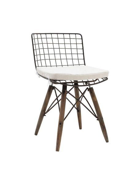 Silla Grid, Metal, madera de abeto, poliéster, Marrón, beige, An 56 x Al 92 cm