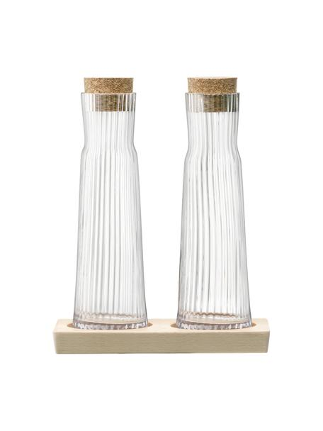 Set de aceitera y vinagrera Gio Line, 3pzas., Dosificador: vidrio, Tapa: corcho, Bandeja: madera de haya, Transparente, corcho, An 16 x Al 20 cm
