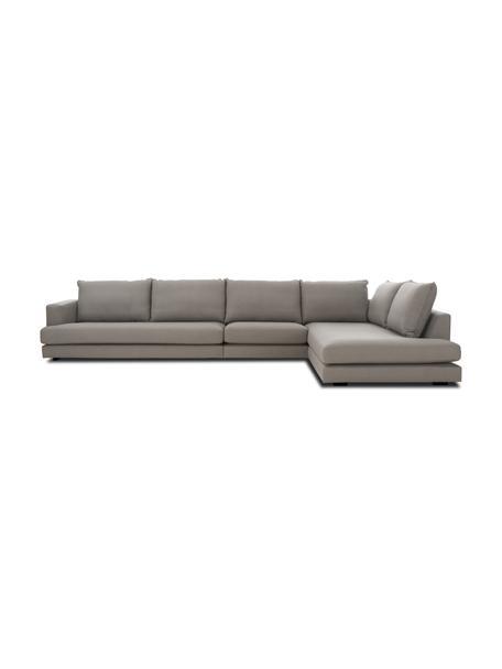 Sofa narożna XL Tribeca, Tapicerka: poliester Dzięki tkaninie, Nogi: lite drewno bukowe, lakie, Ciemny szary, S 405 x G 228 cm