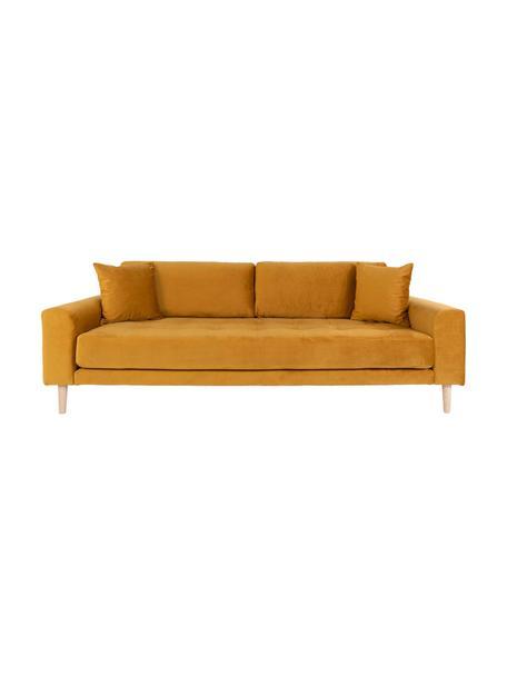 Sofa z aksamitu  Lido (3-osobowa), Tapicerka: aksamit poliestrowy 3000, Nogi: drewno jodłowe, Musztardowy, S 210 x G 93 cm
