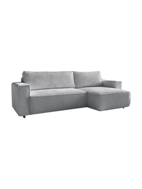 Modułowa sofa narożna ze sztruksu z funkcją spania i miejscem do przechowywania Nihad, Tapicerka: poliester, Nogi: tworzywo sztuczne, Szary, S 282 x G 153 cm