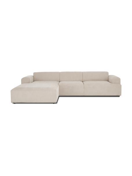 Cord-Ecksofa Melva (4-Sitzer) in Beige, Bezug: Cord (92% Polyester, 8% P, Gestell: Massives Kiefernholz, FSC, Cord Beige, B 319 x T 196 cm