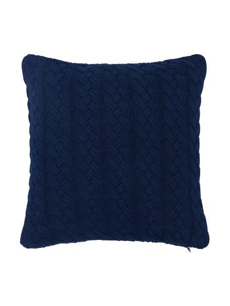 Gebreide kussenhoes Caleb met kabelpatroon, 100% katoen, Blauw, 40 x 40 cm