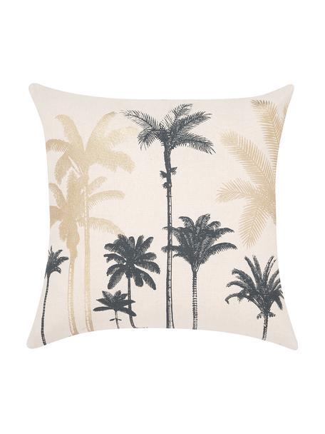 Kissenhülle Palmas mit Palmenprint, 100% Baumwolle, Ecru, Goldfarben, Dunkelgrün, 45 x 45 cm