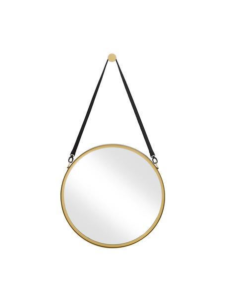 Runder Wandspiegel Liz mit schwarzer Lederschlaufe, Spiegelfläche: Spiegelglas, Rückseite: Mitteldichte Holzfaserpla, Gold, Ø 60 cm