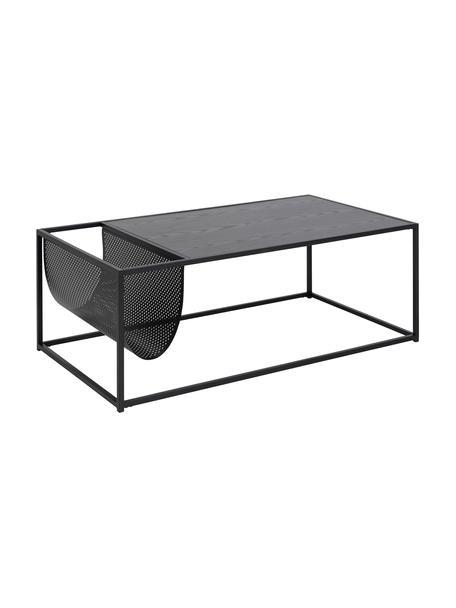Tavolino da salotto con portariviste Seaford, Piano d'appoggio: pannelli di fibra a media, Struttura: metallo verniciato a polv, Nero, Larg. 110 x Alt. 40 cm