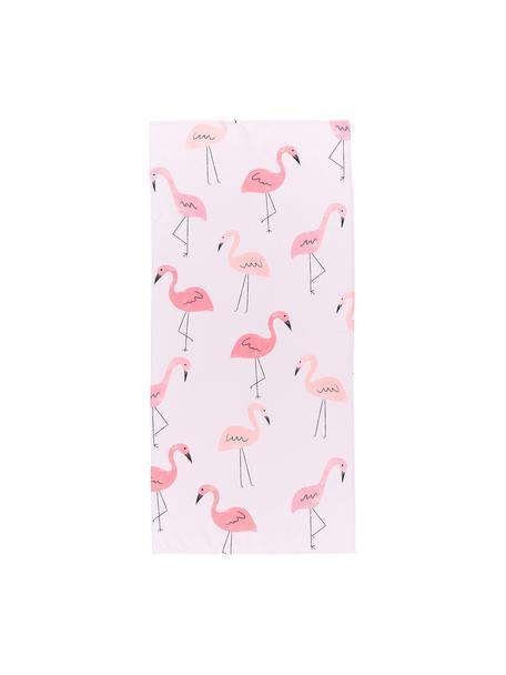 Telo mare leggero con motivo flamingo Flamet, 55% poliestere, 45% cotone, qualità molto leggera 340 g/m², Rosa, Larg. 70 x Lung. 150 cm