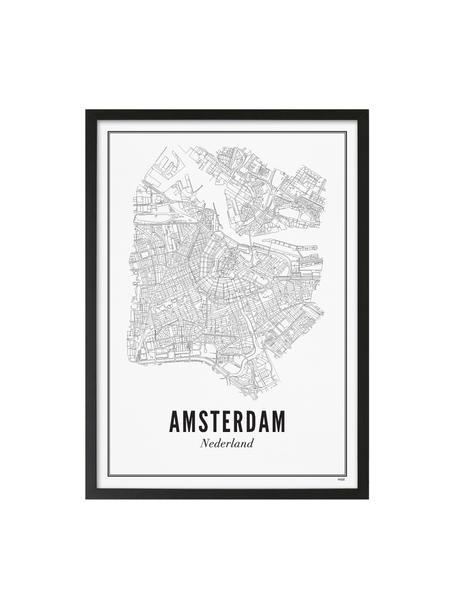 Ingelijste digitale print Amsterdam, Afbeelding: digitale print op Vergé p, Lijst: gelakt hout, Afbeelding: zwart, wit. Lijst: mat zwart, 42 x 53 cm