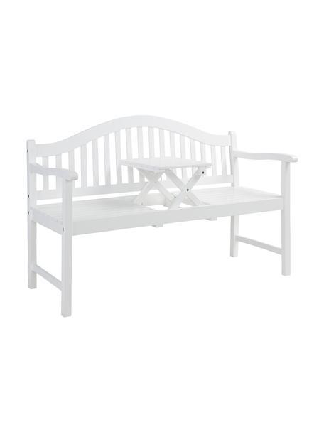 Gartenbank Banquette, Akazienholz, lackiert, Weiß, B 140 x T 60 cm