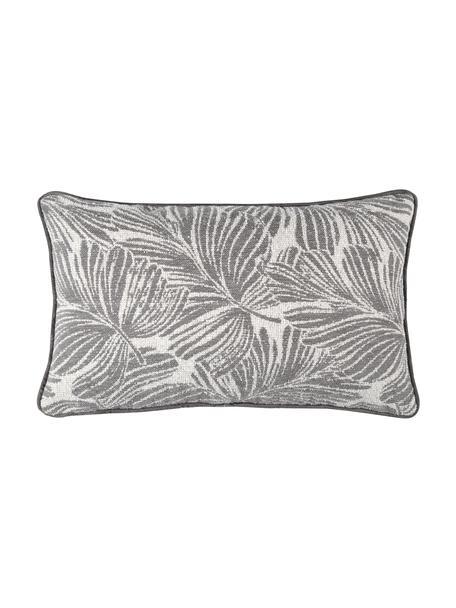 Kissen Hiro mit Kederumrandung und Blattmotiv, mit Inlett, Polyester, Dunkelgrau, Weiß, 30 x 50 cm