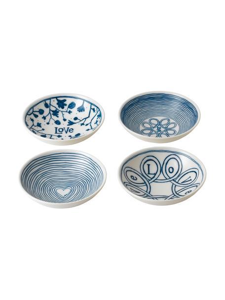 Gemusterte Dipschalen Love in Weiss/Blau, 4er-Set, Porzellan, Elfenbein, Kobaltblau, Ø 14 x H 4 cm