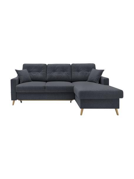 Sofa narożna z funkcją spania i miejscem do przechowywania Sweden, Tapicerka: poliester, Nogi: drewno naturalne, Antracytowy, S 224 x G 149 cm