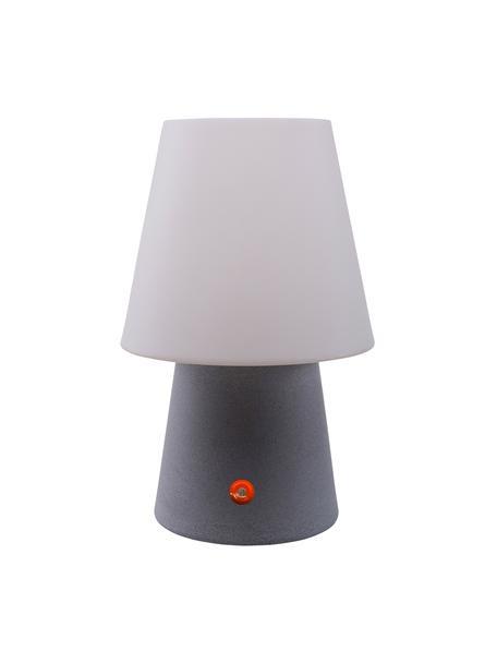 Mobile LED-Außentischlampe No. 1, Kunststoff (Polyethylen), Weiß, Grau, Ø 18 x H 29 cm