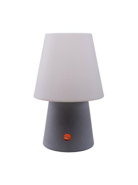 Mobiele outdoor LED tafellamp No. 1 , Kunststof (polyethyleen), Wit, grijs, Ø 18 x H 29 cm