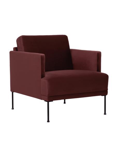 Fluwelen fauteuil Fluente, Bekleding: fluweel (hoogwaardig poly, Frame: massief grenenhout, Poten: gelakt metaal, Bordeauxrood, B 74 x D 85 cm