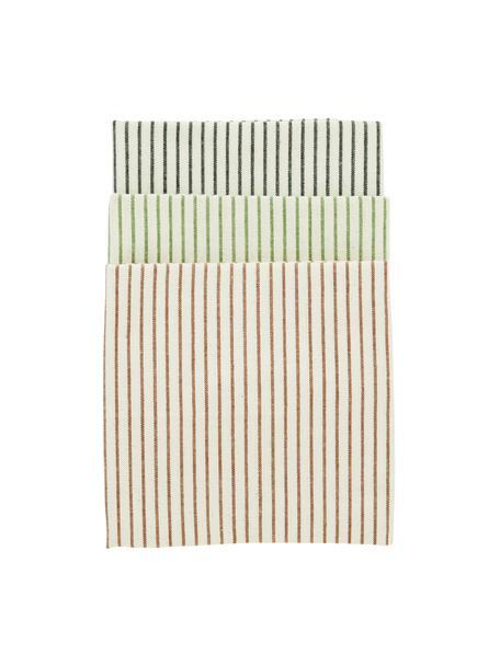 Set 3 strofinacci in cotone a righe Sienna, 100% cotone, Ecru, nero, verde, marrone, Larg. 50 x Lung. 70 cm