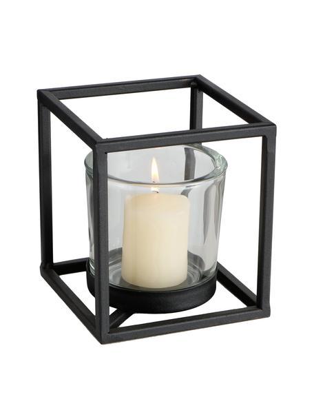 Windlicht Quattro, Frame: gecoat metaal, Zwart, 16 x 18 cm