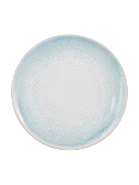 Platos llanos artesanales Amalia, 2uds., Cerámica, Azul claro, blanco crema, Ø 25 cm