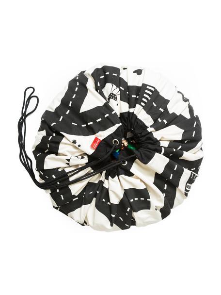 Speeldeken Roadmap, Polyester, Zwart, wit, Ø 140 cm