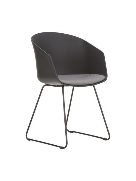 Krzesło z podłokietnikami Bogart, 2 szt., Tapicerka: poliester, Nogi: metal lakierowany, Krzesło: czarny Siedzisko: ciemnyszary Nogi: czarny, S 51 x W 81 cm
