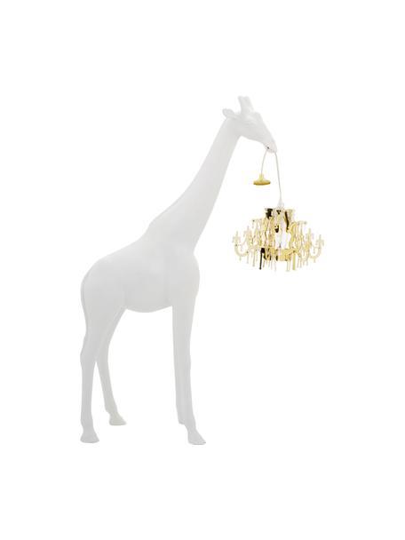 Lámpara de suelo Giraffe in Love, Pantalla: plástico, Lámpara: plástico, Cable: plástico, Blanco, dorado, An 60 x Al 100 cm