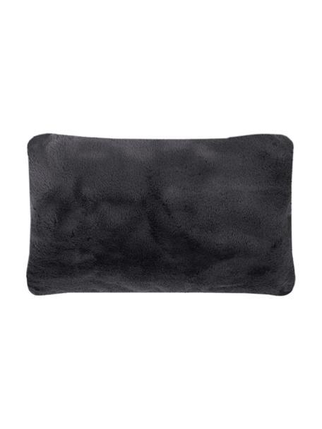 Flauschige Kunstfell-Kissenhülle Mette in Dunkelgrau, glatt, Vorderseite: 100% Polyester, Rückseite: 100% Polyester, Dunkelgrau, 30 x 50 cm