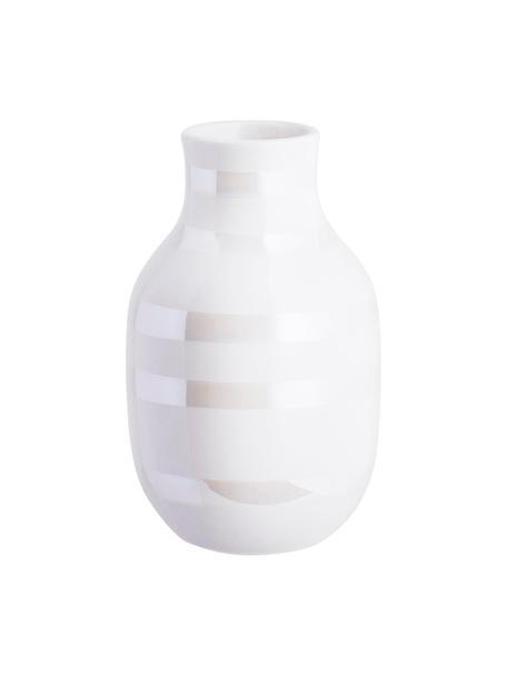 Jarrón artesanal de diseño Omaggio, pequeño, Cerámica, Blanco, colores de perla, Ø 8 x Al 13 cm