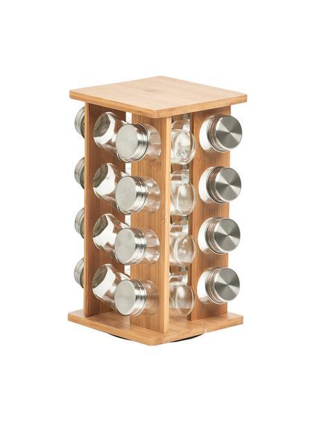 Drehbares Bambus-Gewürzregal Dahle mit Aufbewahrungsdosen, 17-tlg., Bambus, Transparent, Silberfarben, 18 x 30 cm