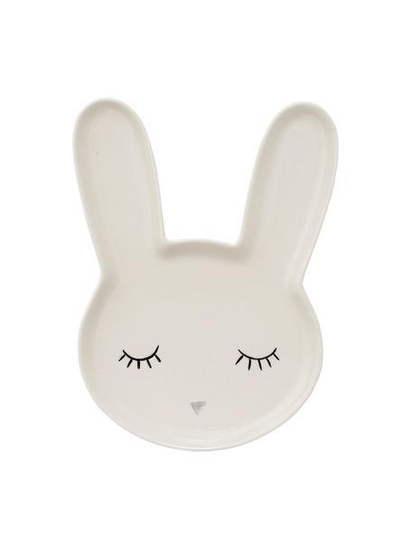 Piatto per bambini coniglietto in gres Rabby, Terracotta, Bianco, Larg. 17 x Alt. 24 cm