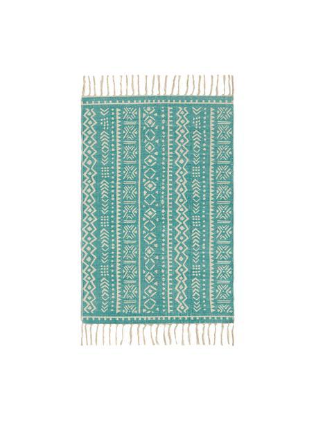 Teppich Afra mit grafischem Muster in Türkis-Weiss, 100% Baumwolle, Türkis, Gebrochenes Weiss, B 60 x L 90 cm (Grösse XXS)