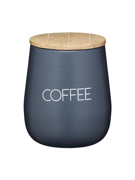 Aufbewahrungsdose Serenity Coffee, Dose: Stahl, beschichtet, Deckel: Mangoholz, Anthrazit, Holz, Ø 13 x H 15 cm