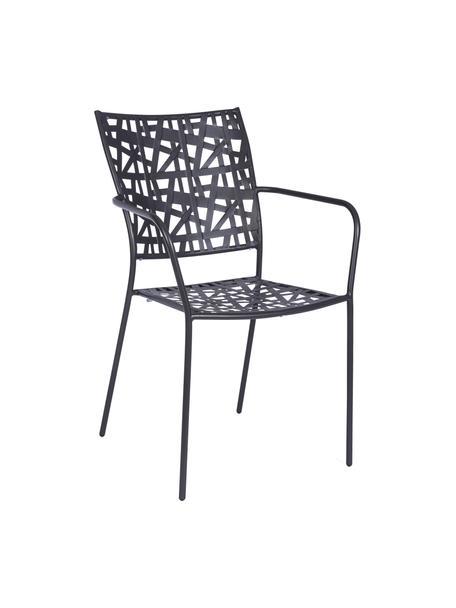 Sedia da giardino in metallo Kelsie, Acciaio verniciato, Grigio, Larg. 55 x Alt. 54 cm