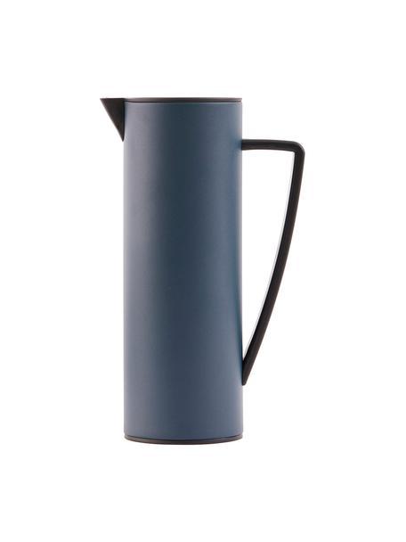 Isolierkanne Java, 1 L, Kanne: Metall, beschichtet, Deckel: Holz, Metall, beschichtet, Blau, Schwarz, 1 L