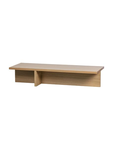 Modern salontafel Angle met eikenhoutfineer, MDF met eikenhoutfineer, Lichtbruin, 135 x 27 cm